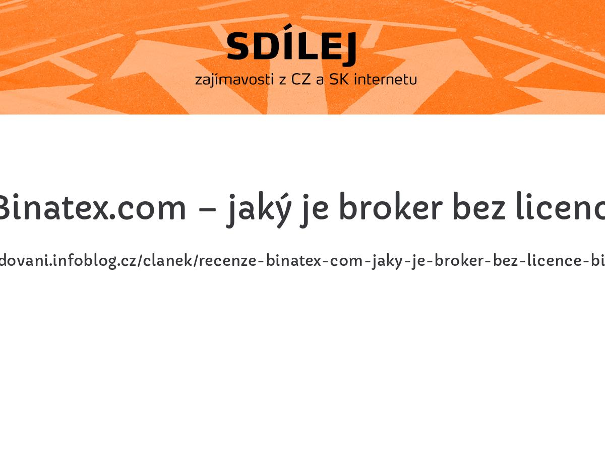 Recenze Binatex.com – jaký je broker bez licence Binatex