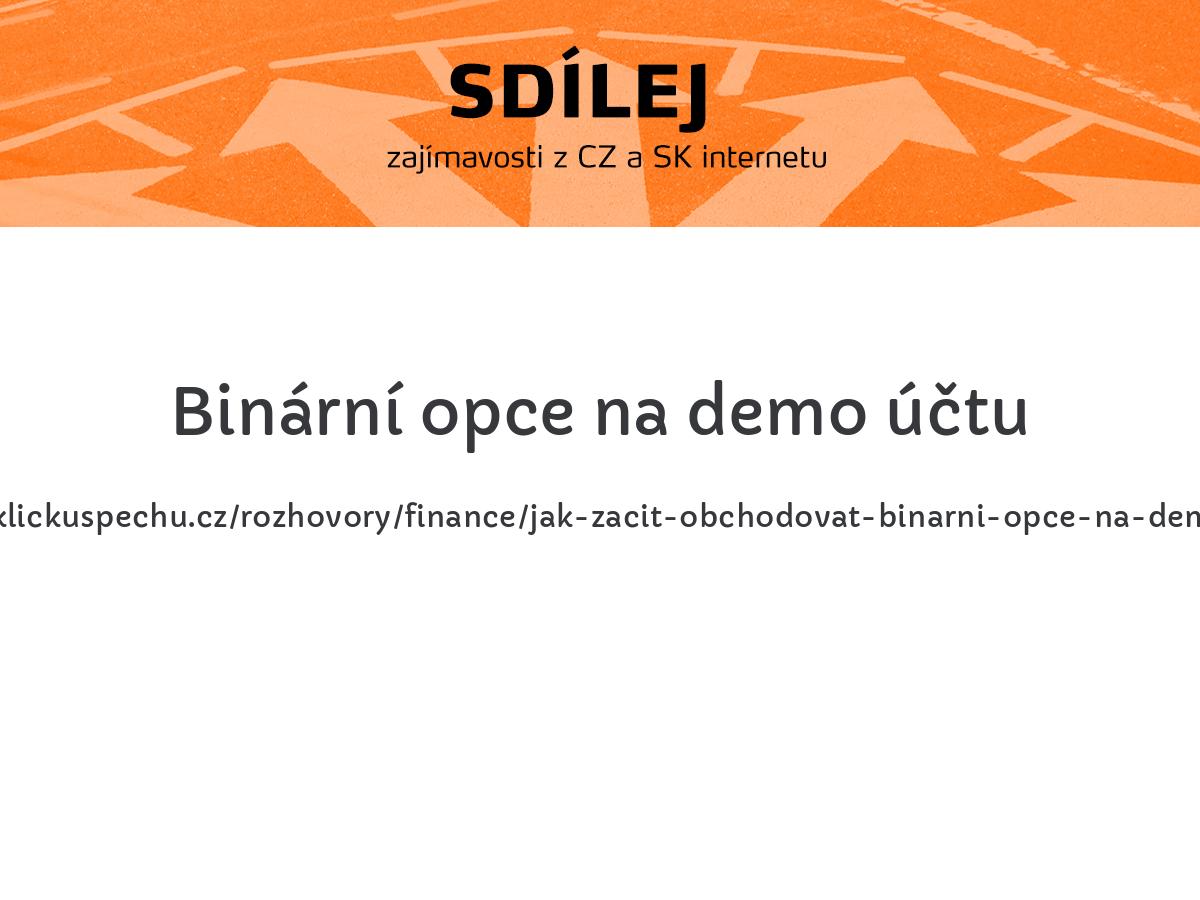 Binární opce na demo účtu