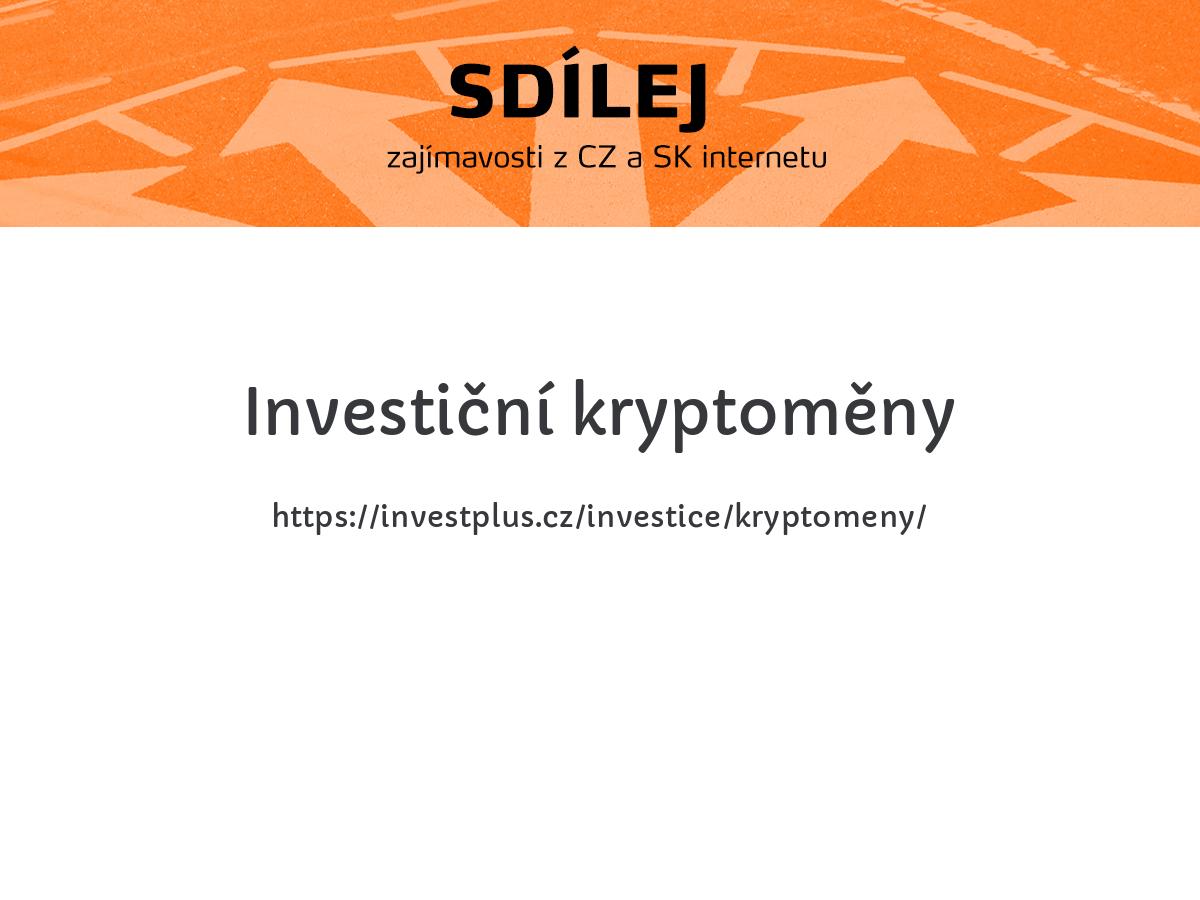 Investiční kryptoměny